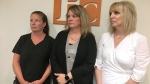 (From left) Bridget Thornton, Pamela Moxon and Lori Wheeler are part of a proposed class-action lawsuit. Lawyers have filed documents with a New Brunswick court seeking a class action lawsuit after a Fredericton massage therapist made secret video recordings of more than 100 of his female patients in various states of undress. (THE CANADIAN PRESS/Kevin Bissett)