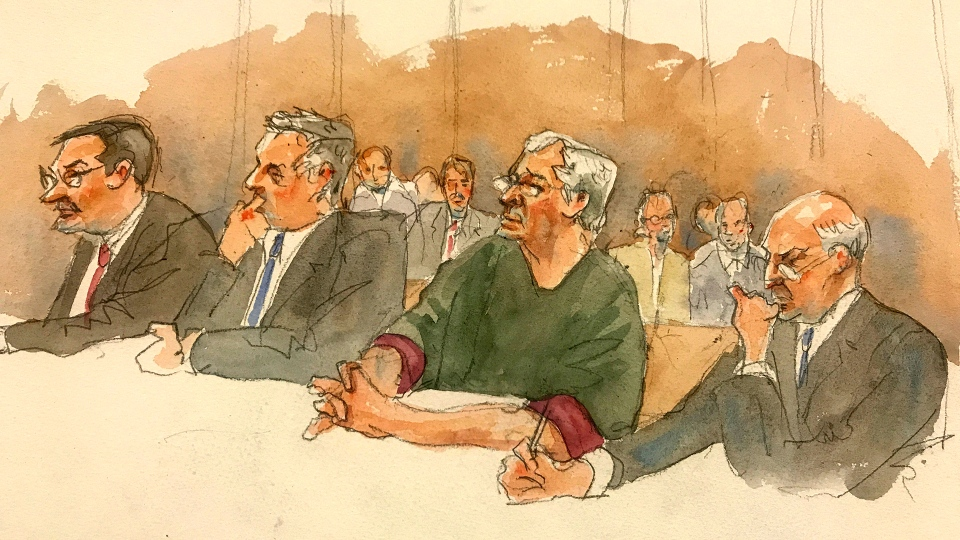 In this courtroom sketch, defendant Jeffrey Epstein, second from right, listens along with defence attorneys, from left, Marc Fernich, Michael Miller, and Martin Weinberg as Judge Richard M. Berman denies him bail during a hearing in federal court, Thursday, July 18, 2019 in New York. (Aggie Kenny via AP)