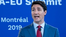 Prime Minister Justin Trudeau responds to a question during the closing news conference of the Canada-EU Summit in Montreal on Thursday, July 18, 2019. THE CANADIAN PRESS/Paul Chiasson
