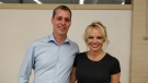 Pamela Anderson, posing for a picture with Green MP Paul Manly, attended a Wednesday night town hall meeting hosted by the BC Green Party in Nanaimo. July 17, 2019. (Submitted)