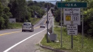 Highway 344 heading into the town of Oka is seen Thursday, June 18, 2015 in Kanesatake, Que. (THE CANADIAN PRESS/Ryan Remiorz)