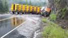 Thursday's crash happened shortly before 5 a.m., when a semi truck jack-knifed and came to rest blocking traffic in both directions. (Revelstoke RCMP)