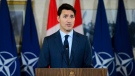 Prime Minister Justin Trudeau takes part in a joint press conference with Secretary General of the North Atlantic Treaty Organization (NATO) Jens Stoltenberg at Canadian Forces Base Petawawa, Ontario on Monday, July 15, 2019. THE CANADIAN PRESS/Sean Kilpatrick