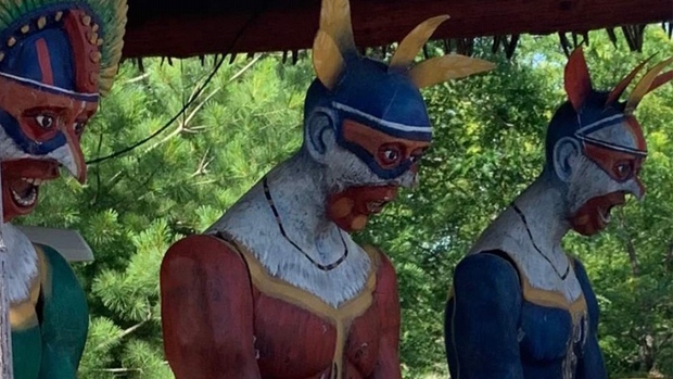 Calypso says this is what visitors will see going through the Kongo Expedition. It says the statutes were repainted in 2017 with features such as nose, eyes and lips modified.