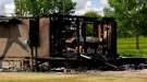 A Cochin home destroyed in Sunday's fire. (Laura Woodward/CTV Saskatoon)