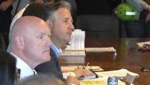 Vancouver Police Chief Adam Palmer and Mayor Kennedy Stewart attend a Vancouver Police Board meeting Thursday. (CTV)