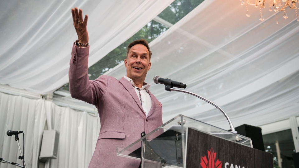Jeffrey Latimer, CEO of Canada's Walk of Fame, announces the 2019 inductees during an event in Toronto on Thursday, July 18, 2019. THE CANADIAN PRESS/Christopher Katsarov