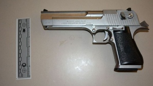 A Desert Eagle airsoft gun is shown in a TPS handout image.