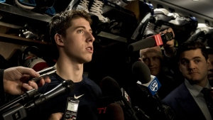 Maple Leafs right wing Mitch Marner speaks to reporters after a locker clean out at the Scotiabank Arena in Toronto, on April 25, 2019. (Christopher Katsarov / THE CANADIAN PRESS)