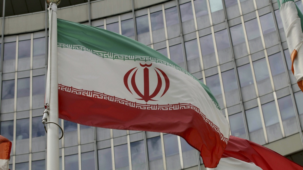 Iranian flag outside the IAEA office in Vienna