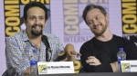 Lin-Manuel Miranda, left, and James McAvoy participate in the 'His Dark Materials' panel at Comic-Con International in San Diego, on July 18, 2019. (Richard Shotwell / Invision / AP)
