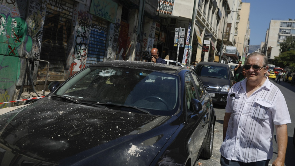 A damaged car following an earthquake in Athens
