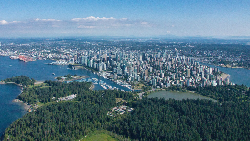 Downtown Vancouver and Stanley Park are seen from CTV News Vancouver's Chopper 9 in June 2019. (Pete Cline)