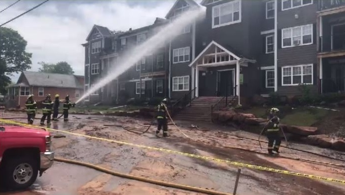 Charlottetown fire inspector Winston Bryan says Wednesday's pre-dawn fire originated in the mulch at the back left corner of the building, although exactly what caused it to smoulder and then ignite hasn't been determined.
