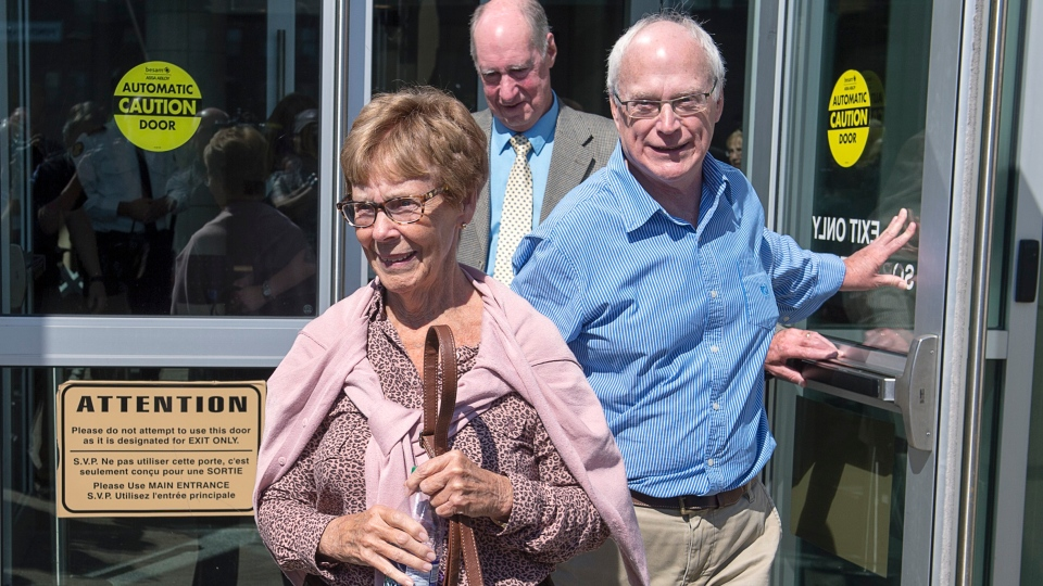 Connie Oland, mother of Dennis Oland and widow of Richard Oland, heads from the Law Courts in Saint John, N.B., after her son was found not guilty of murdering his father on Friday, July 19, 2019. THE CANADIAN PRESS/Andrew Vaughan