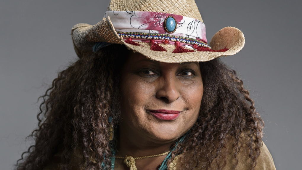 Pam Grier posing in New York in 2019