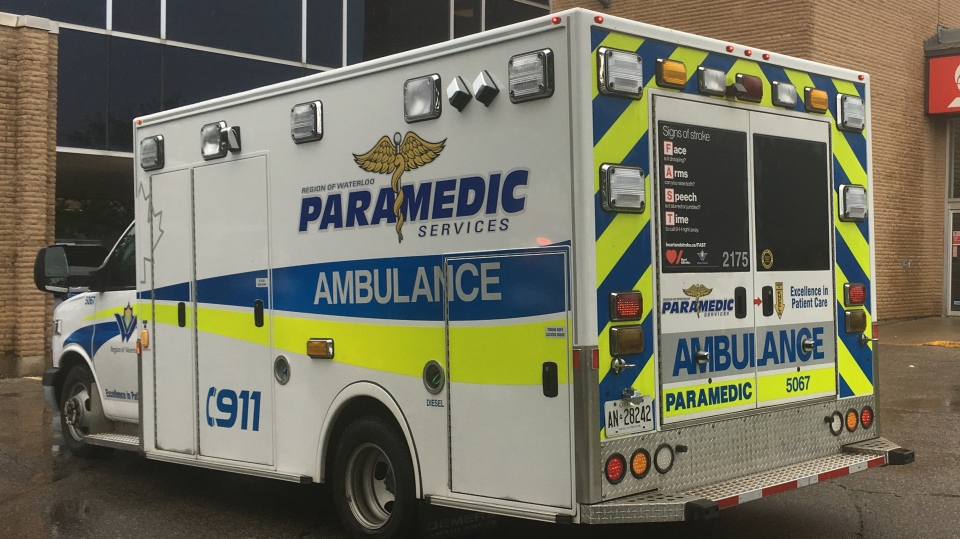 An ambulance seen outside of a Scotiabank after reports of a robbery.