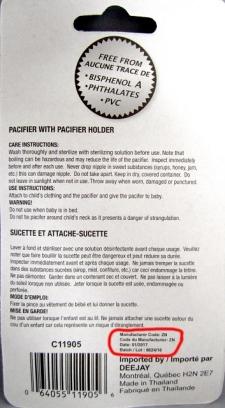 Pacifier recall over choking hazard