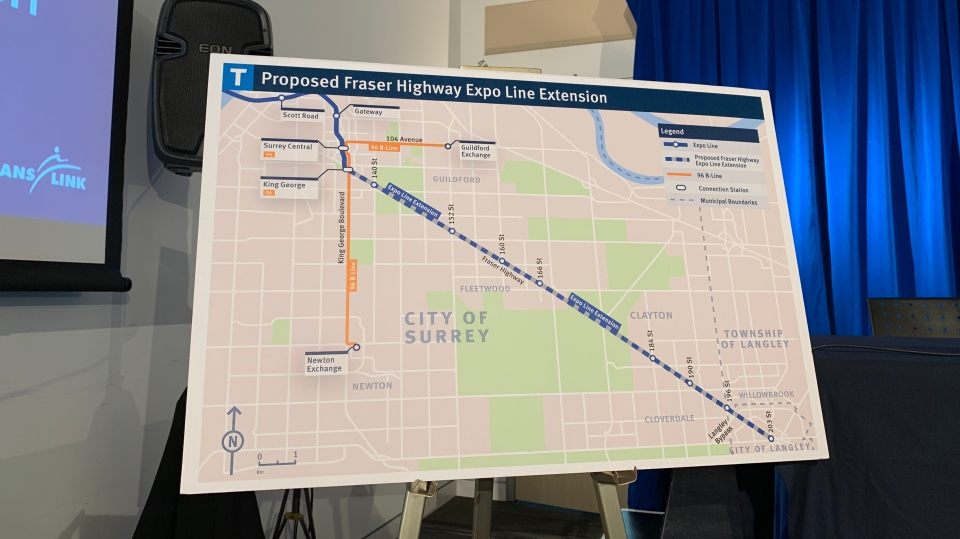 A placard at TransLink's headquarters show the route of the proposed Fraser Highway Expo Line extension. (Regan Hasegawa / CTV News Vancouver)
