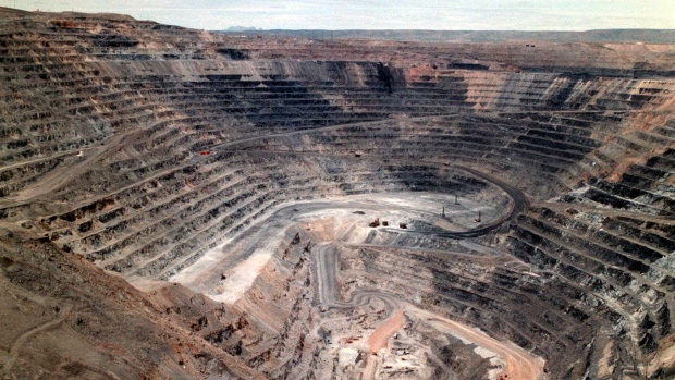This undated file photo shows Barrick Goldstrike Mines' Betze-Post open pit near Carlin, Nev. A three-judge panel with the U.S. Court of Appeals for the District of Columbia ruled Friday, July 19, 2019, that state and federal programs ensure mining companies take financial responsibility for their pollution. (Adella Harding/The Daily Free Press via AP, File)