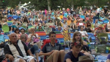 The tarps at the Calgary Folk Music Festival's main stage will be at the opposite end of the grounds from the cannabis consumption site (file)