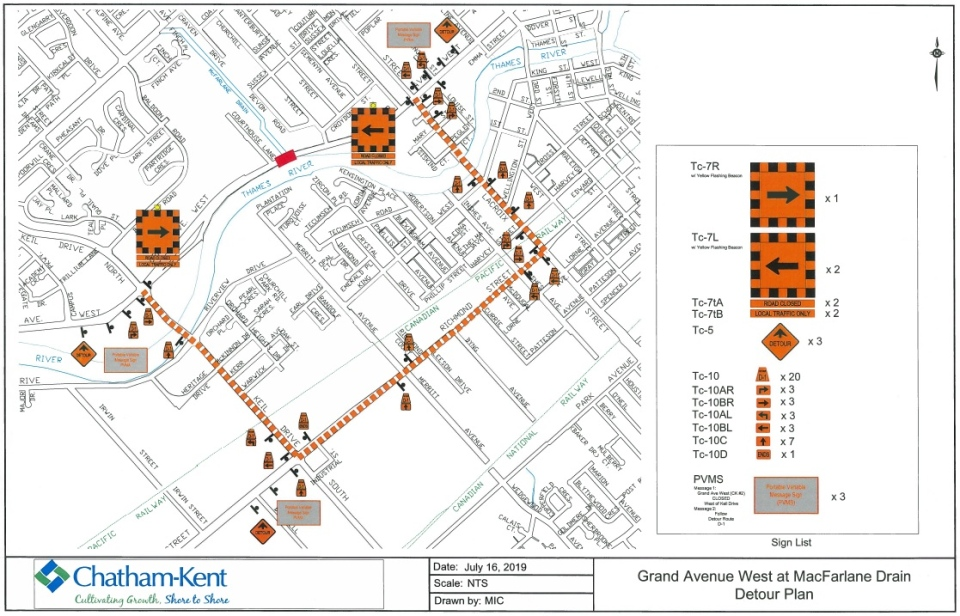 A detour route for construction on Grand Avenue West in Chatham following the discovery of a sinkhole created by a failed drainage culvert. (Courtesy the Municipality of Chatham-Kent)