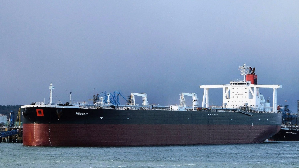 In this May 2, 2013 photo the Liberian-flagged oil tanker Mesdar is seen at an unknown location. British Foreign Secretary Jeremy Hunt confirmed Friday July 19, 2019 that Iran had seized one British, the Stena Impero, and one Liberian-flagged vessel, Mesdar, in the Strait of Hormuz. It was the latest escalation of tension in the strategic waterway that has become a flashpoint in tensions between Tehran and the West. (John Pitcher via AP)