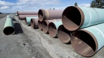 Pipes are seen at the pipe yard at the Trans Mountain facility in Kamloops, B.C., on March 27, 2017. (THE CANADIAN PRESS/Jonathan Hayward)