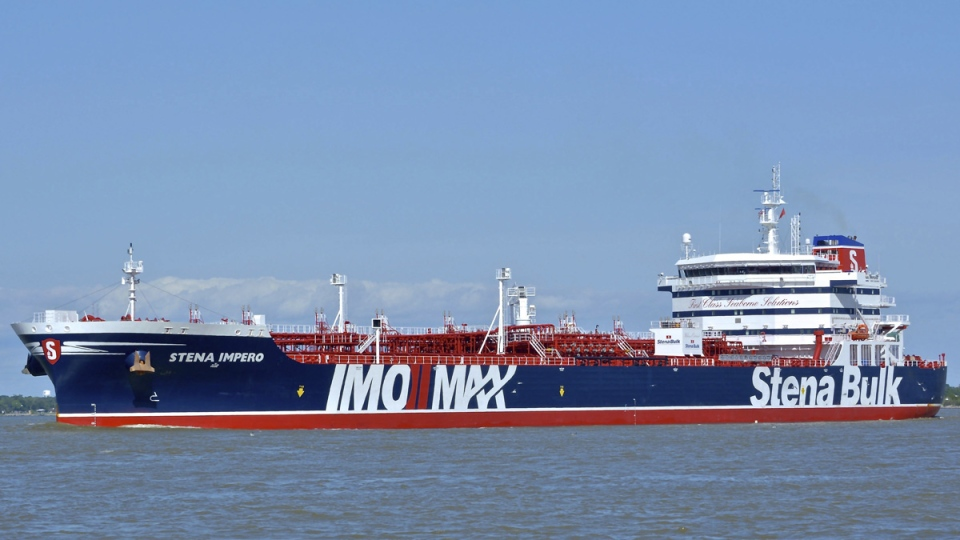 The British oil tanker Stena Impero at an unknown location in a May 5, 2019 photo. (Basil M. Karatzas, Karatzas Images via AP)