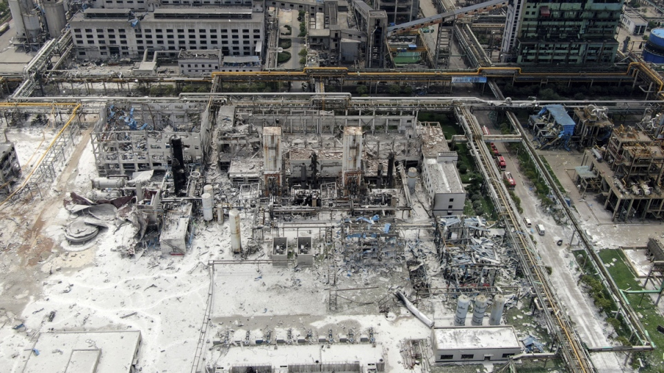 An aerial view shows the aftermath of the blast at a gas plant in Yima, China, on July 20, 2019. (Chinatopix via AP)