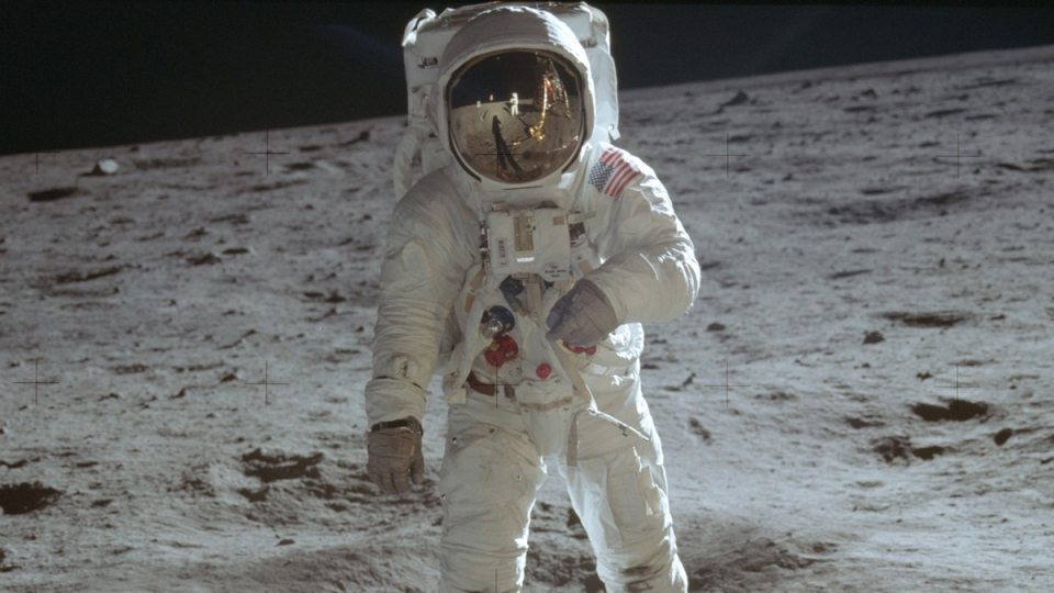 In this July 20, 1969 photo made available by NASA, astronaut Buzz Aldrin, lunar module pilot, walks on the surface of the moon during the Apollo 11 extravehicular activity. (Neil Armstrong / NASA via AP)