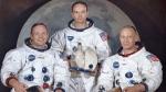Apollo 11 crew, from left, Neil Armstrong, commander; Michael Collins, module pilot; Edwin E. 'Buzz' Aldrin, lunar module pilot, in a March 30, 1969 photo. (NASA via AP)
