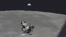 Earth, moon and Apollo 11 Lunar Module ascent