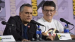 Joe Russo, left, and Anthony Russo participate in a conversation with the Russo Brothers on day two of Comic-Con International on Friday, July 19, 2019, in San Diego. (Photo by Richard Shotwell/Invision/AP)