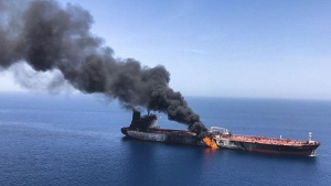 An oil tanker is on fire in the sea of Oman, on June 13, 2019. (ISNA / AP)
