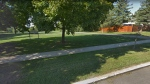 A park across the street from Cassandra Boulevard is shown in a Google Streetview image.