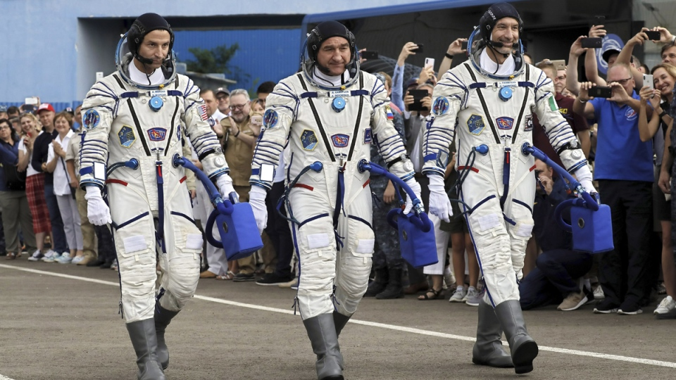 Astronauts prior to the Soyuz launch