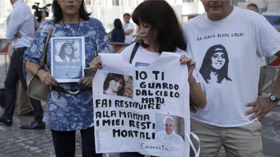 Emanuela Orlando supporters at the Vatican
