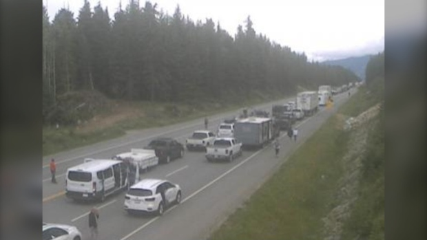 A crash closed Highway 1 between Revelstoke and Golden in the British Columbia Interior Saturday, the third time in four days the highway had been closed to traffic. (DriveBC)