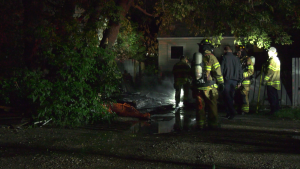 Edmonton Fire Rescue Services was called at 2:40 a.m. to a home near 118 Avenue and 79 Street, where crews found a detached shed and fence on fire.