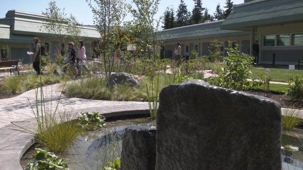 The Healing Garden outside features a koi pond and various spots to sit and reflect. (CTV)