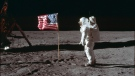 In this July 20, 1969 photo made available by NASA, astronaut Buzz Aldrin Jr. poses for a photograph beside the U.S. flag on the moon during the Apollo 11 mission. Aldrin and fellow astronaut Neil Armstrong were the first men to walk on the lunar surface with temperatures ranging from 243 degrees above to 279 degrees below zero. Astronaut Michael Collins flew the command module. (Neil Armstrong/NASA via AP)