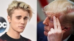 Justin Bieber thanked U.S. President Donald Trump for helping rapper A$AP Rocky, who is currently in custody in Sweden. He also reminded Trump about his border detention centres, tweeting 'Can you also let those kids out of cages?' (Photos by Jordan Strauss/Invision/AP, File, AP Photo/Alex Brandon)