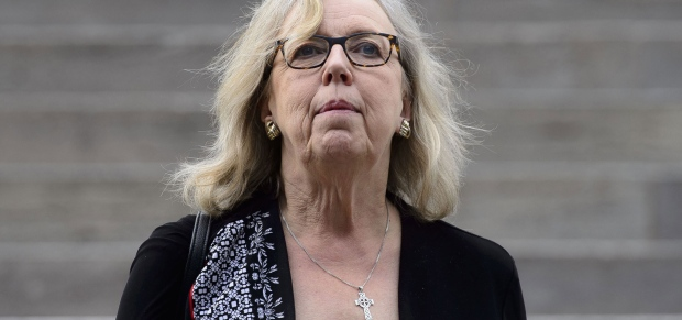 Green party leader Elizabeth May makes her way from Parliament Hill in Ottawa on Tuesday, June 18, 2019. (THE CANADIAN PRESS / Sean Kilpatrick)