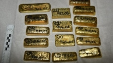 More than 100 kilograms of linked to South American drugs cartels was seized by officials at London's Heathrow Airport. The gold haul is estimated to be worth $5.8 million. (NCA)