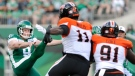Saskatchewan Roughriders punter Jon Ryan sends the ball deep during first half CFL action against the BC Lions, at Mosaic Stadium in Regina on Saturday, July 20, 2019. THE CANADIAN PRESS/Mark Taylor
