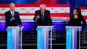 Joe Biden, Bernie Sanders and Kamala Harris