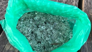 Bag of broken glass pieces found in Manotick's David Bartlett Park / Courtesy: Lee-Ann Hall