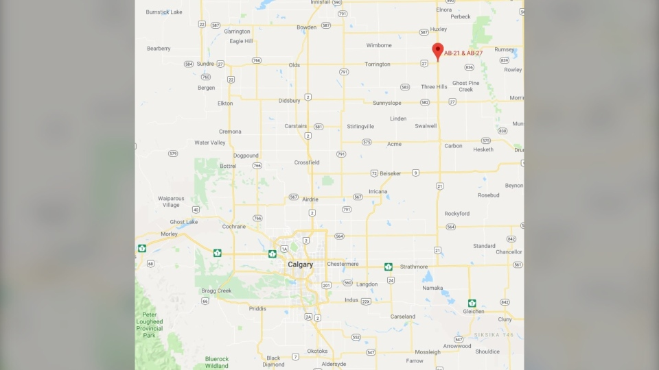 Three Hills is about 131 kilometres northeast of Calgary.