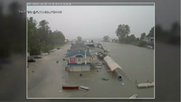 A look at the Grand Bend Yacht Club on the night of July 20, 2019. (Coutesy: @flyingdutchwx Twitter)